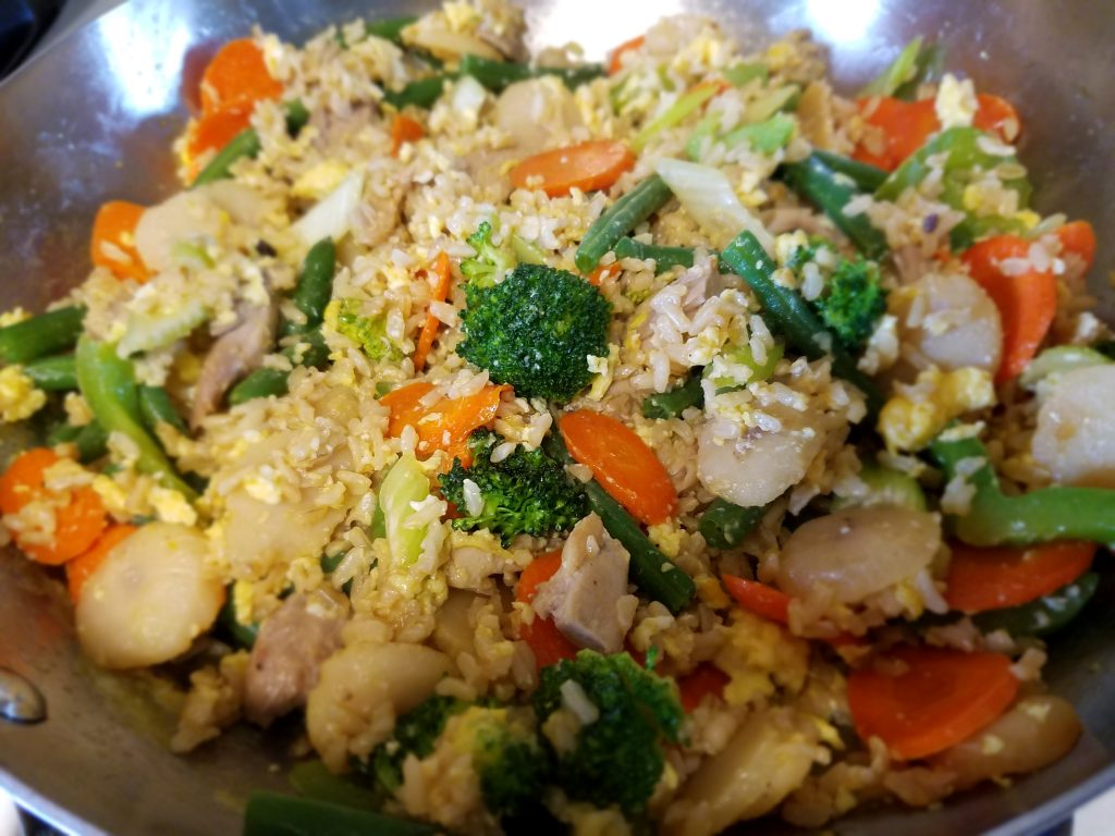 Use up veggies and leftover protein in this nutritious Easy Fried Rice weeknight dinner idea turned leftovers for lunch.