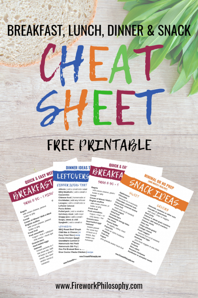 Grab the Free Cheat Sheet with 80+ ideas for quick and easy breakfasts, dinner ideas that make great leftovers for lunch as well as minimal or no prep snack ideas.